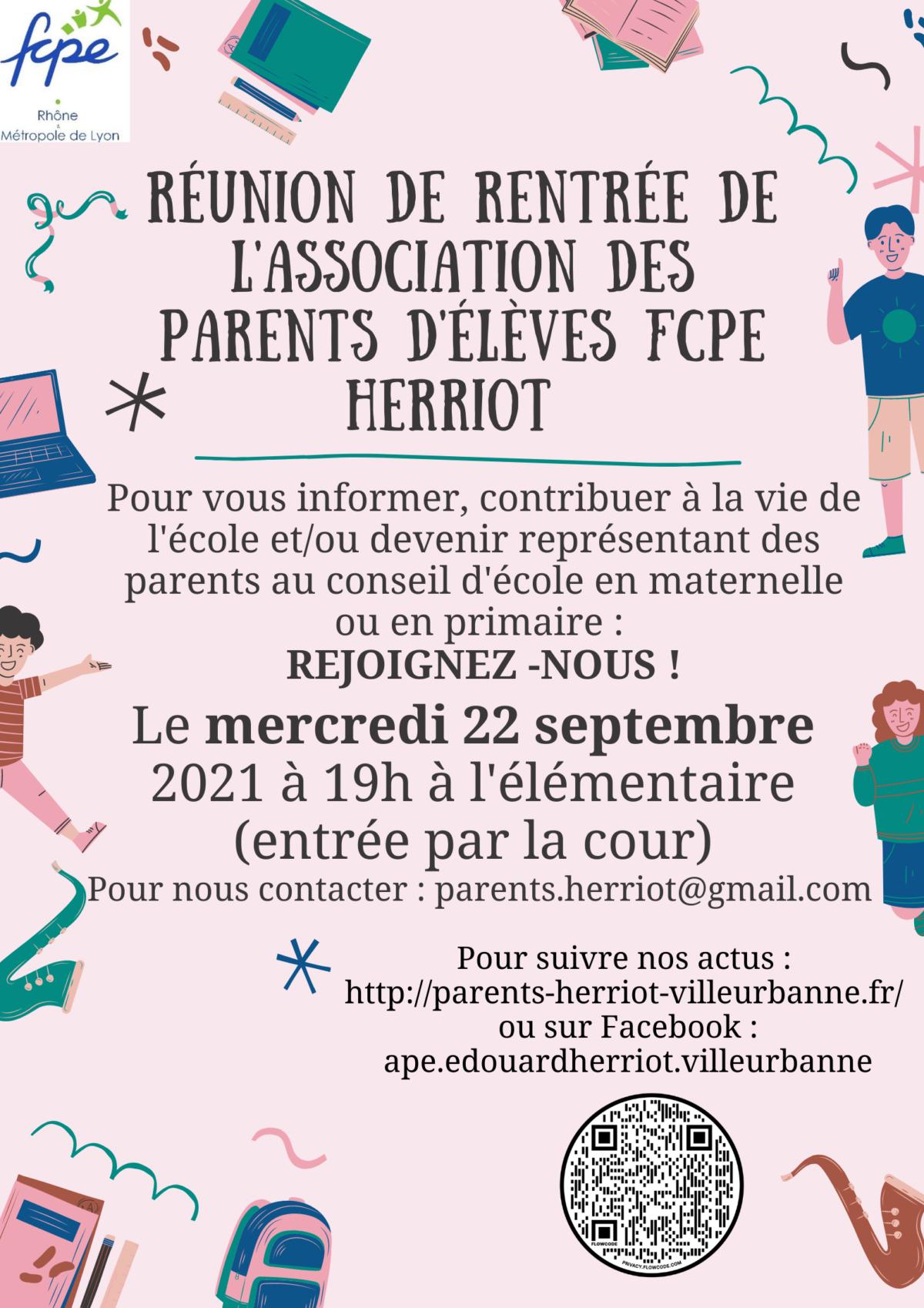 Réunion de rentrée de l'Association des Parents d'Elèves FCPE Herriot